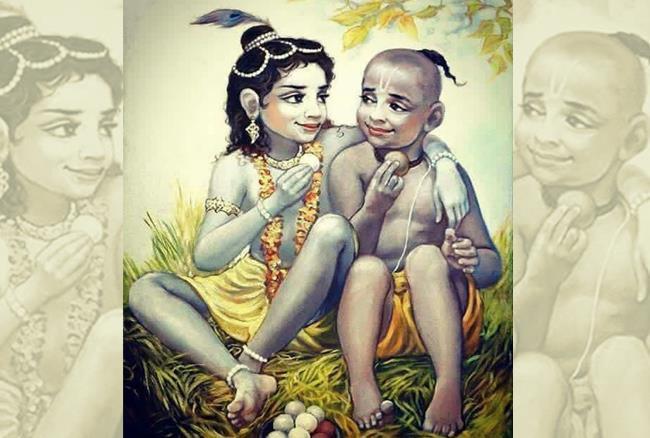 Lord Krishna Childhood Image with Friend Sudama