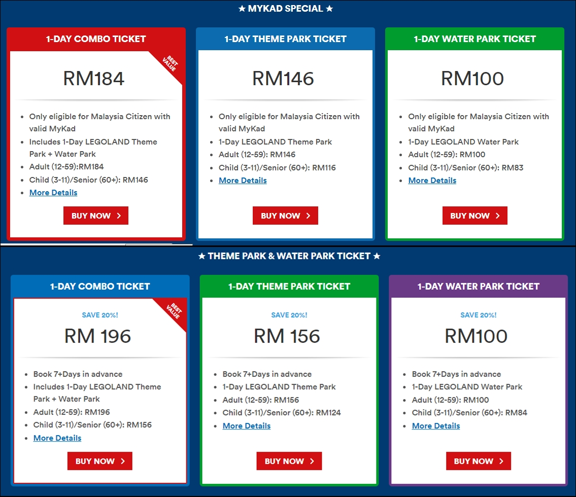 Info Harga Tiket Combo Legoland Malaysia Theme Park Water Anak Johor Bahru Dan Mamajue Story Untuk Kanak Bawah 3 Tahun
