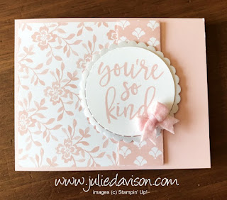 Stampin' Up! 2017-2019 In Color Notes of Kindness Cards ~ Powder Pink ~ www.juliedavison.com