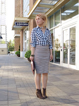 Pencil Skirt and Plaid Shirt