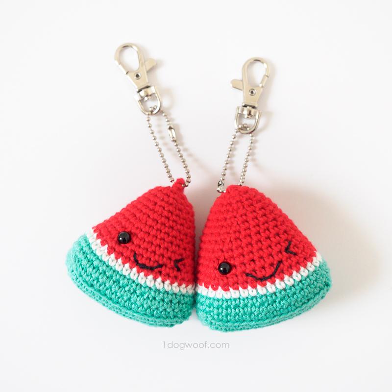 Watermelon Keychain Crochetpattern Watermeloen Sleutelhanger