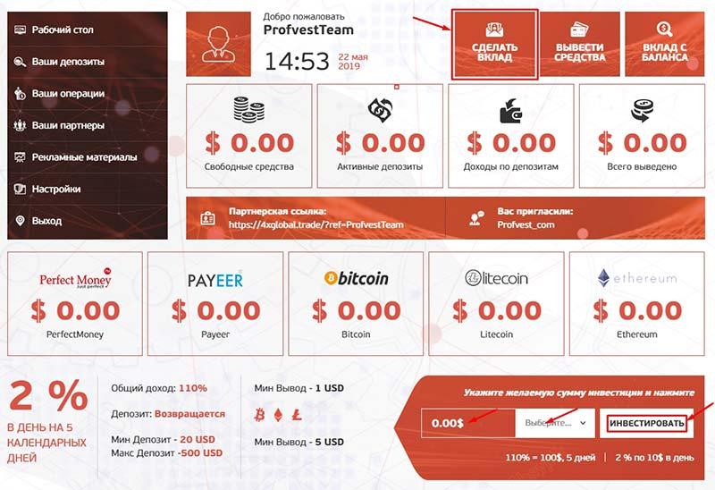 Создание депозита в 4x-Global Limited