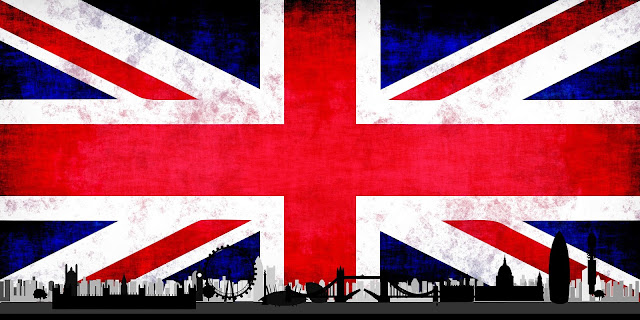 british flag with london skyline over the top