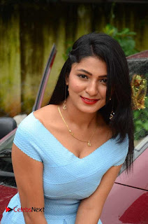 Actress Ankitha Jadhav Pictures in Blue Short Dress at Cottage Craft Mela 0013.JPG