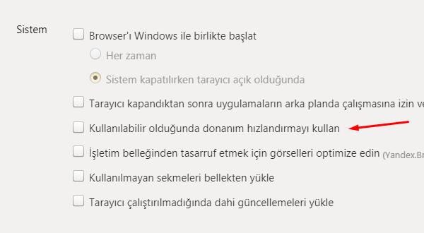 Yandex Browser Donanım Hızlandırma Kapatma Nasıl Yapılır?