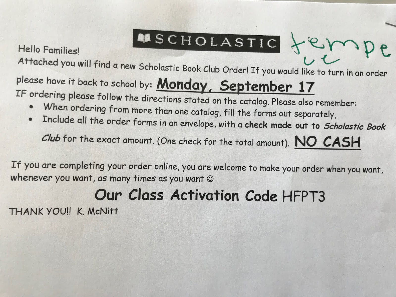 Mrs Mcnitts 2nd Grade Sept Scholastic Book Order