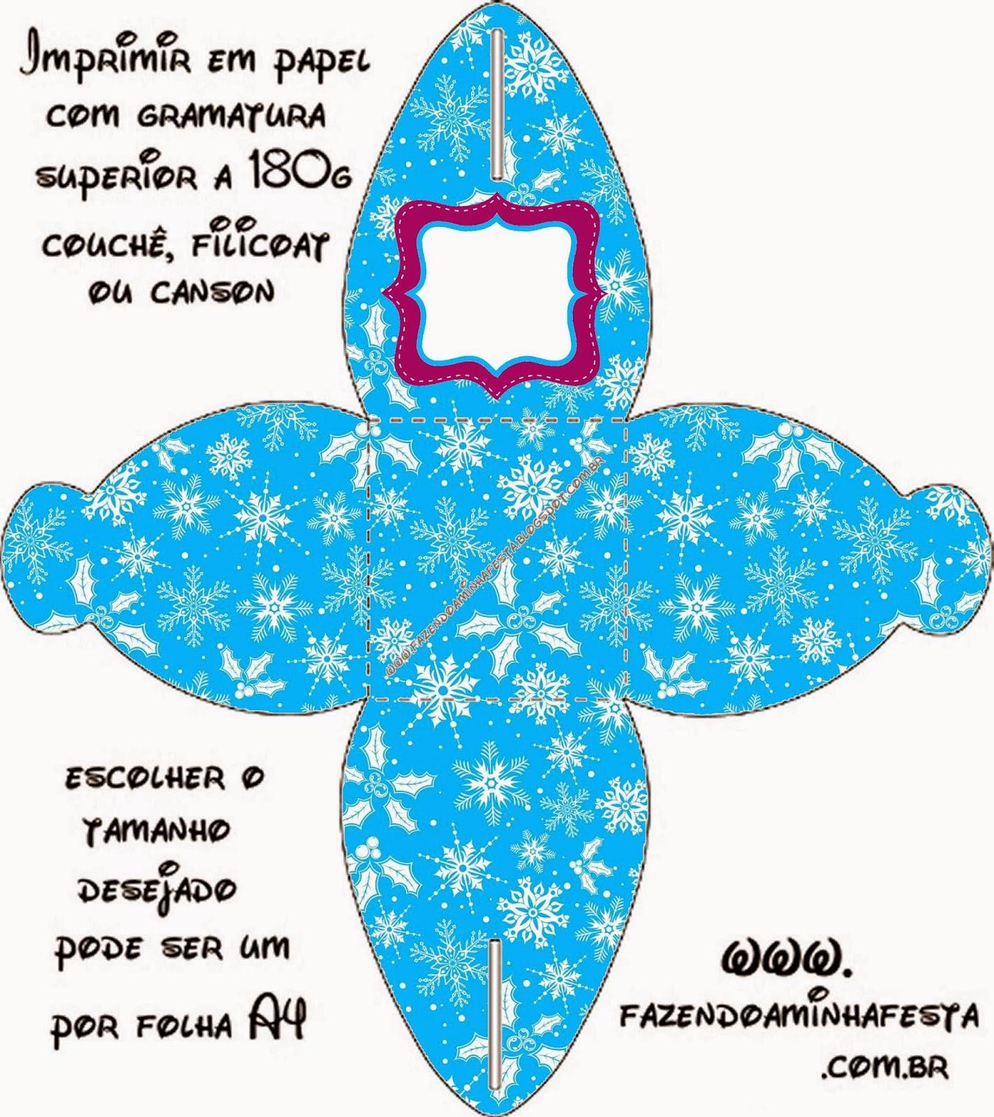 Caja para cupcakes, chocoltes o golosinas de Frozen en Morado y Celeste para Navidad.