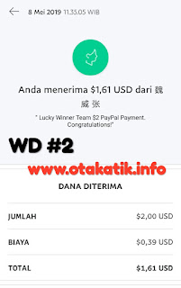 payment proof kedua dari lucky winner
