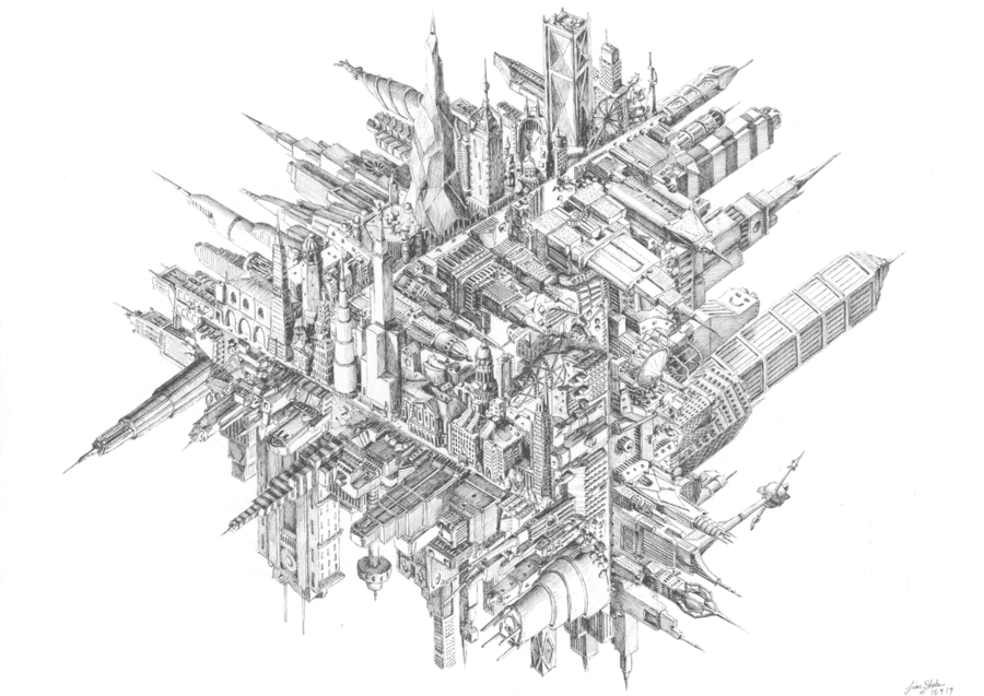 06-Urban-Penrose-Triangle-Tim-Stokes-Fantasy-and-Real-Life-Architecture-Drawings-www-designstack-co