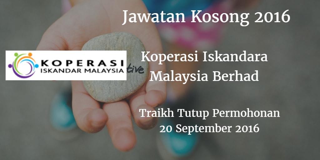 Jawatan Kosong Koperasi Iskandara Malaysia Berhad 20 September 2016