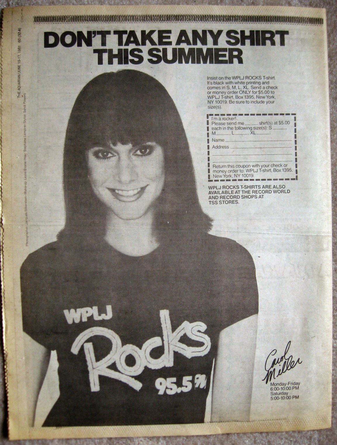 Carol Miller New York DJ WPLJ 95.5 when it was a rock station 1981