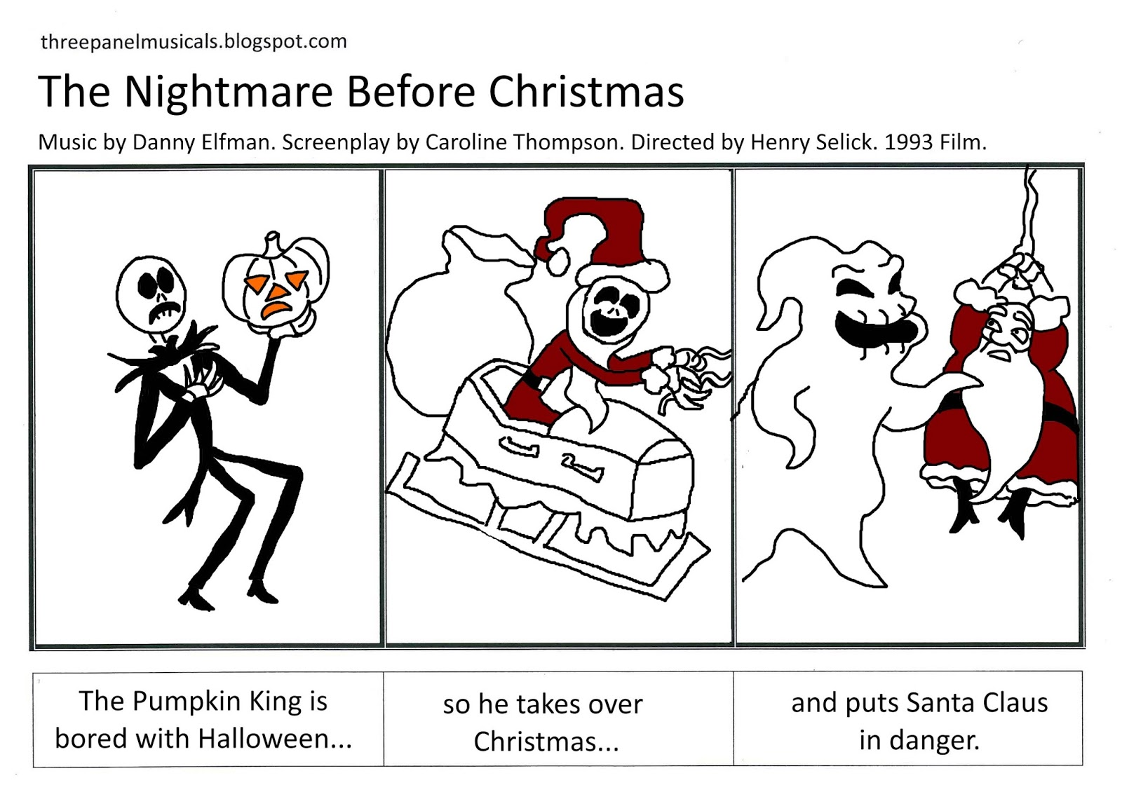 Three Panel Musicals: The Nightmare Before Christmas