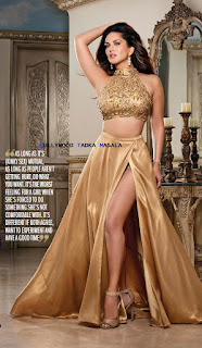 Sunny Leone froM Filmfare Magazine April 2016   Gorgeous golden Legsplit Skirt and Choli