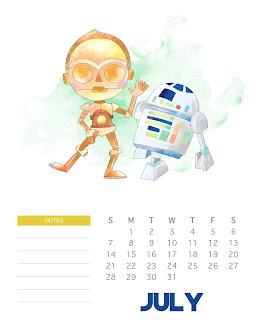 Calendario 2019 de Star Wars para Imprimir Gratis.