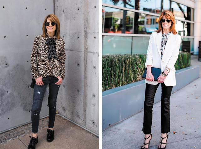 Блузка с бантом с джинсами и с узкими брюками и жакетом