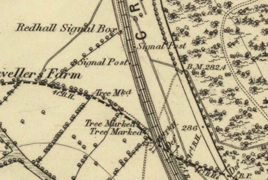 Map showing the Redhall signal box north of Marshmoor where the train stopped  OS six-inch map of Hertfordshire published 1883   Courtesy of the National Library of Scotland, released under Creative Commons
