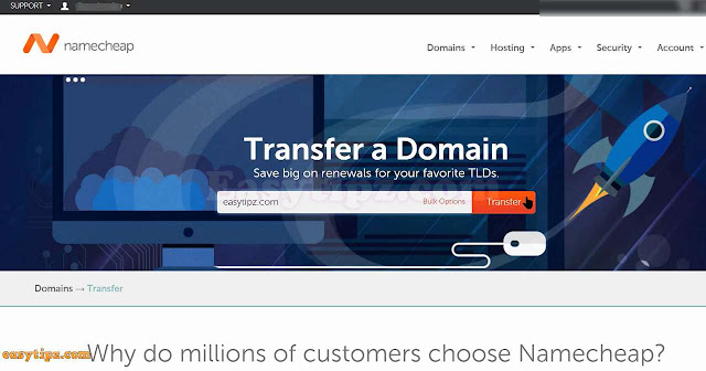 Add your transfer domain to Namecheap