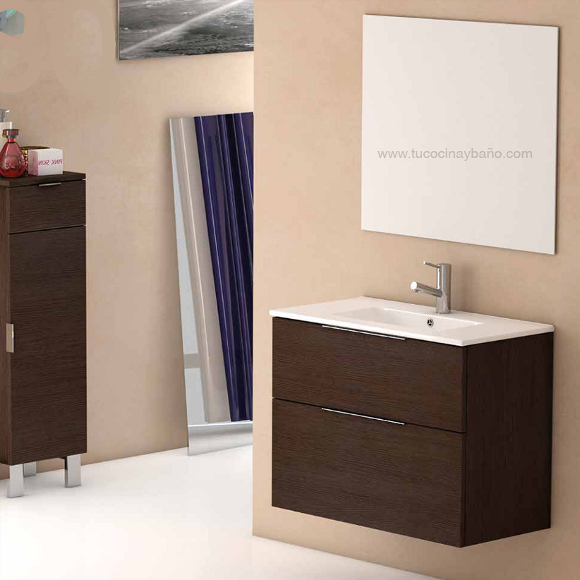 mueble baño fondo 40 cristal berenjena