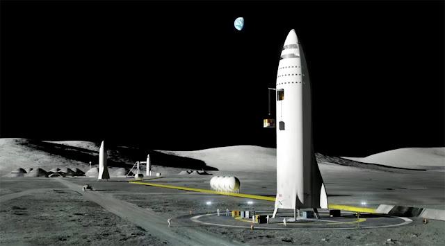 Ilustração artística do foguete espacial BFR na superfície da Lua