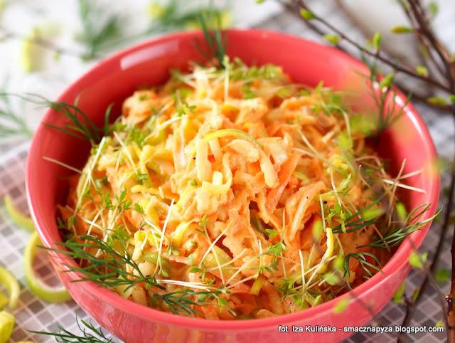 surowka z pora, por,pory, warzywa, dodatek do obiadu, obiad, pyszna suroweczka, witaminy, zdrowe warzywo, co zrobic z pora