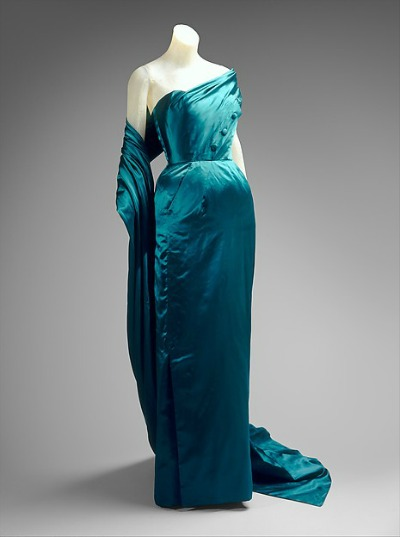 Iridescent blue dress on mannequin for Jacques Fath 1951