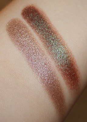 NARS Dual Intensity Eyeshadow in Himalia swatch Urban Decay Eye Shadow in Lounge