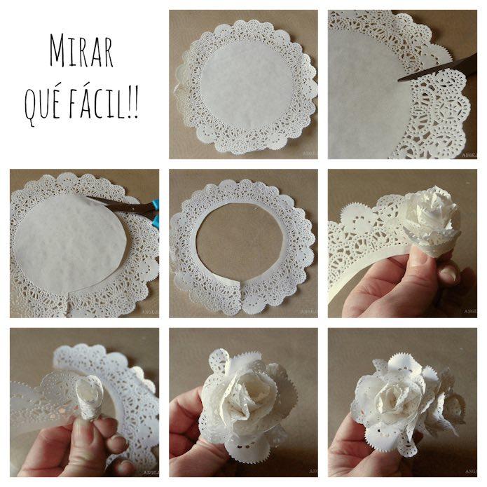 Flor hecha con blondas de papel