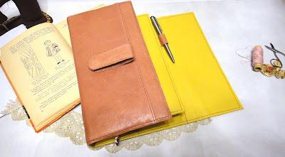 Блокнот в винтажном стиле: пыльная роза и солнечный желтый, блокнот натуральная кожа