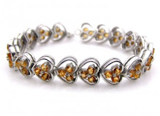Genuine Citrine Silver Tennis Bracelet