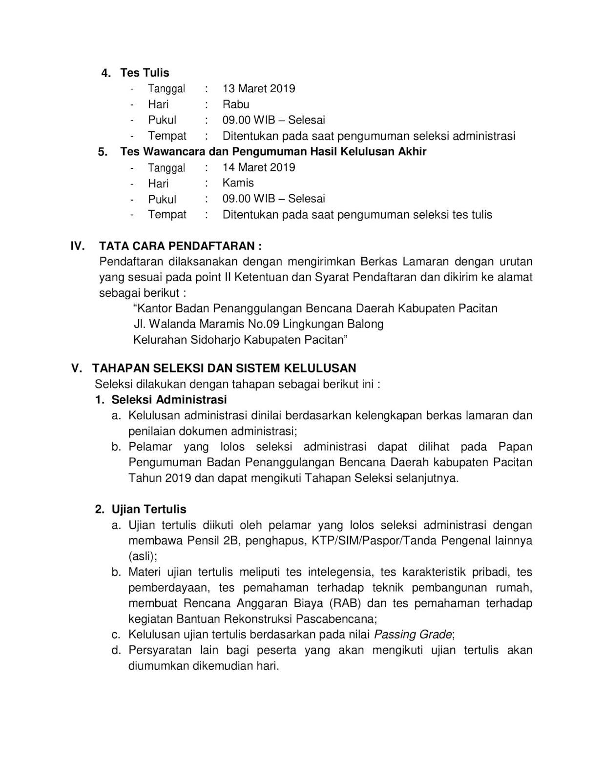 Lowongan Kerja Badan Penanggulangan Bencana Daerah Kabupaten Pacitan Maret 2019
