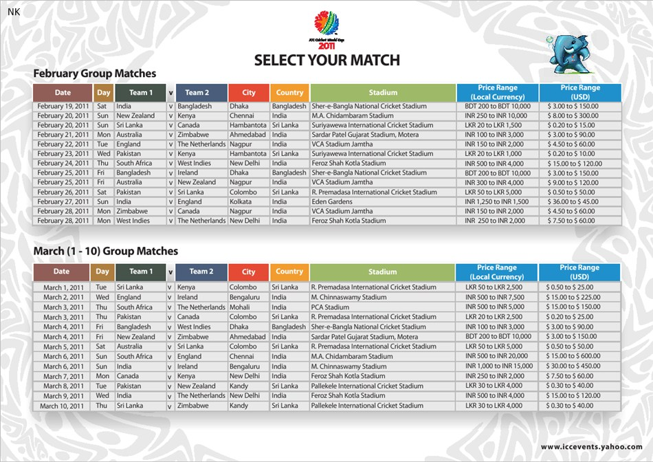 Cwc 2015 Schedule Pdf