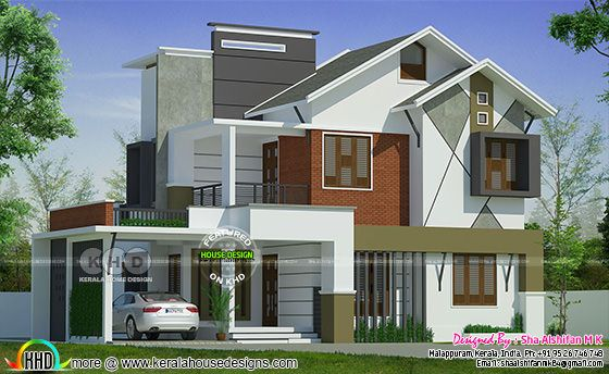 2153 square feet 4 bedroom mixed roof Kerala home