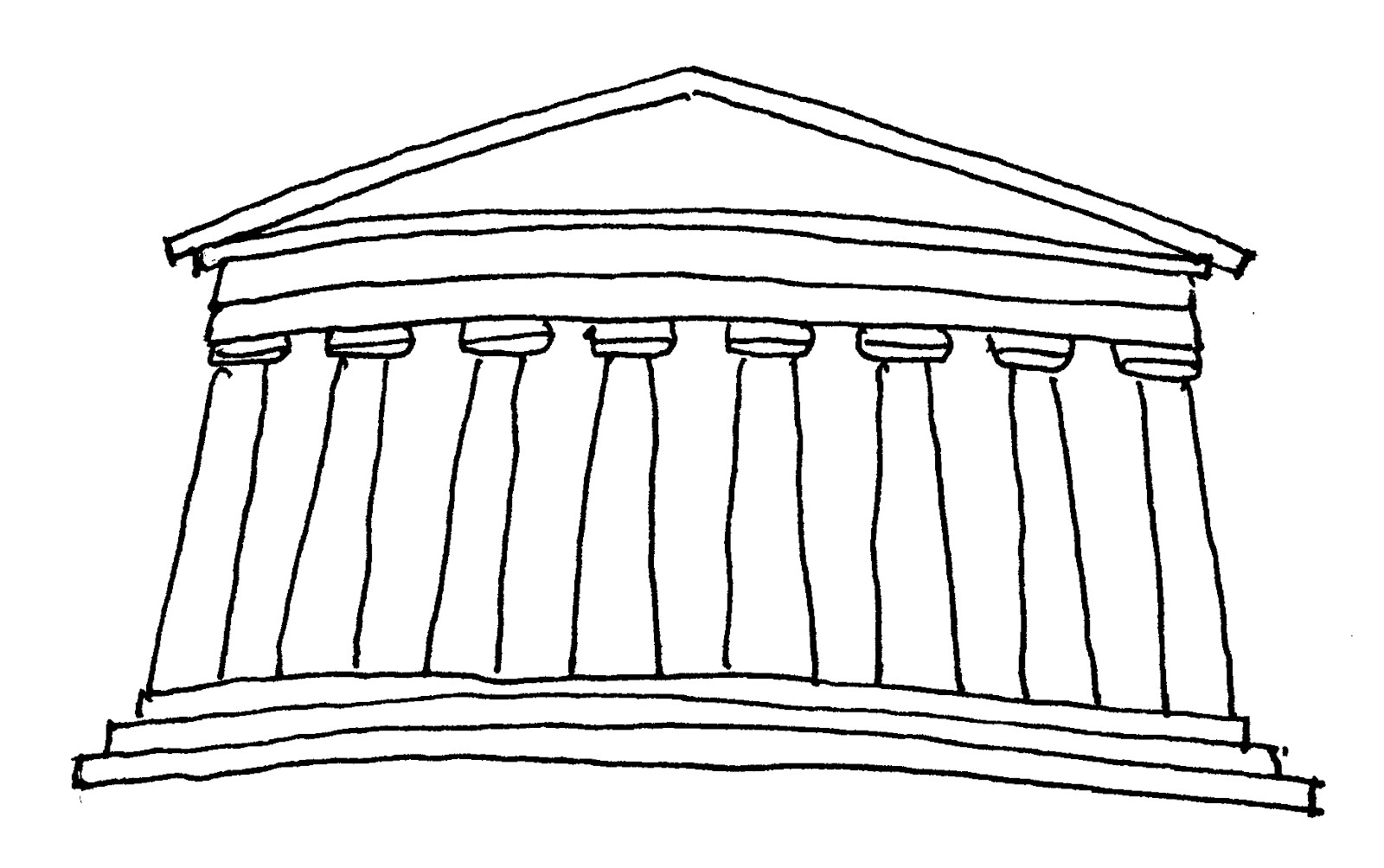 Parthenon Acropolis Drawing Sketch Coloring Page