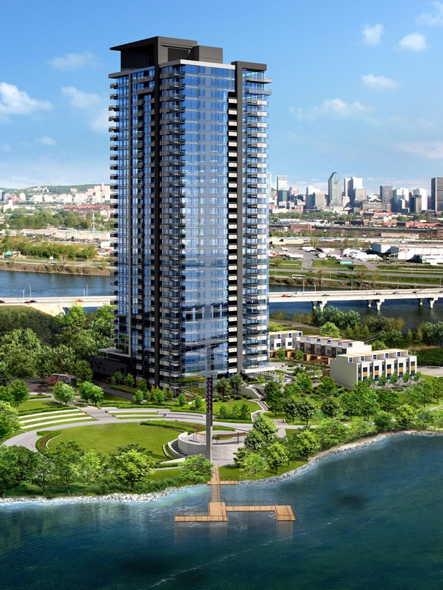 Rendering of the Evolo condominiums located by the lake and surrounded with green vegetation