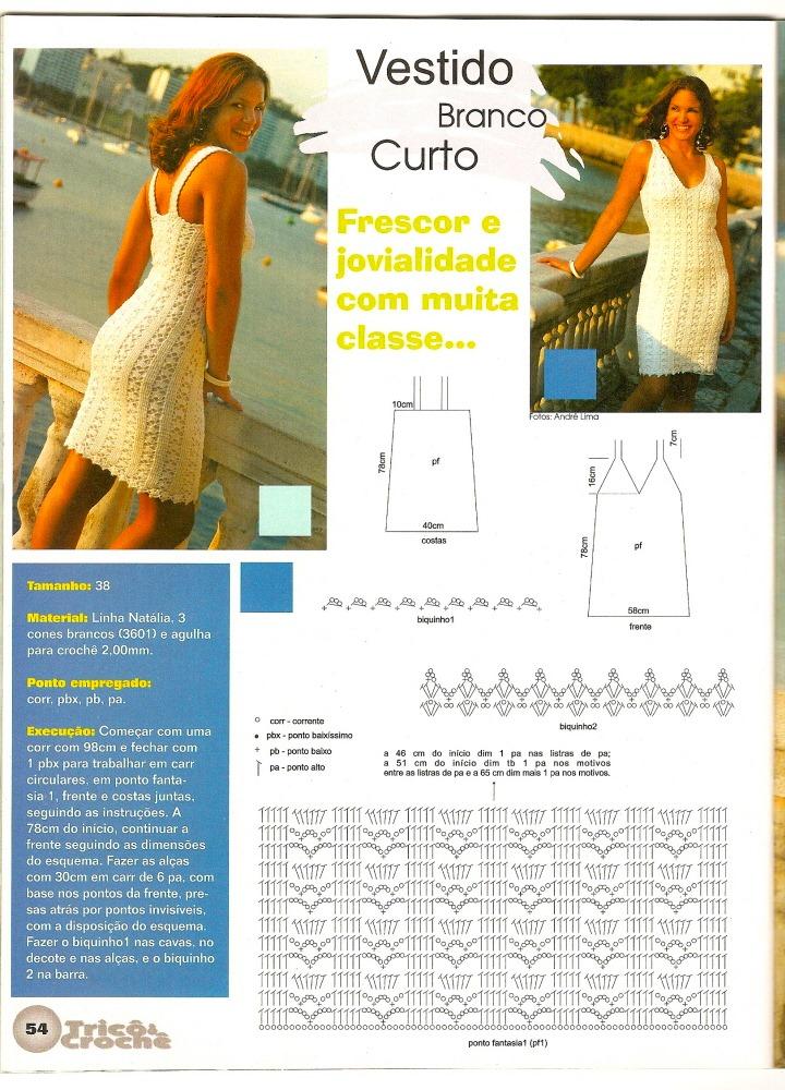 DIY Moda Feminina - Vestido Curto de Crochê Com Gráfico, com receita em português