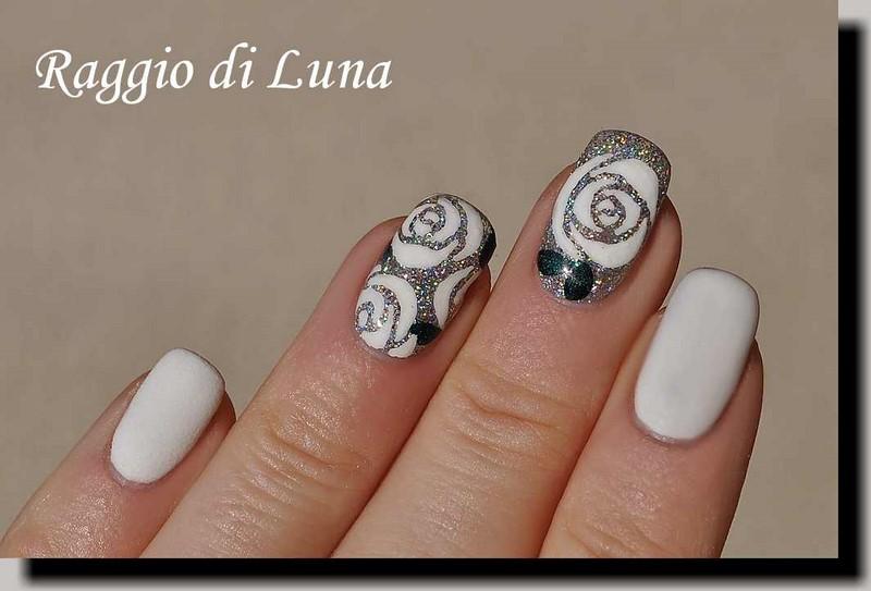 Raggio di Luna Nails: UV gel manicure with free-hand nail art: White ...