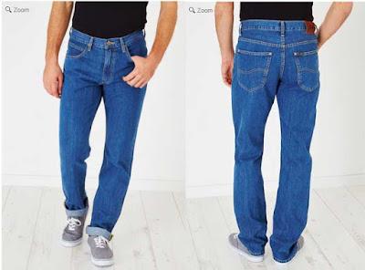 pantalon vaquero barato para hombre de color azul y de marca Lee