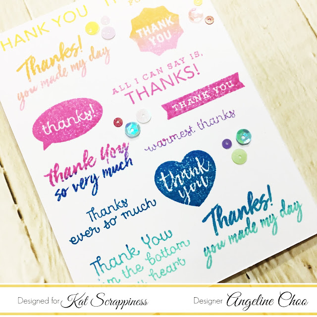 ScrappyScrappy: One layer Thank you Card with Kat Scrappiness #scrappyscrappy #katscrappiness #heroarts #card #cardmaking #papercraft #stamp #stamping #thankyoucard #altenew #altenewdyeink #katscrappinesssequins #sequins