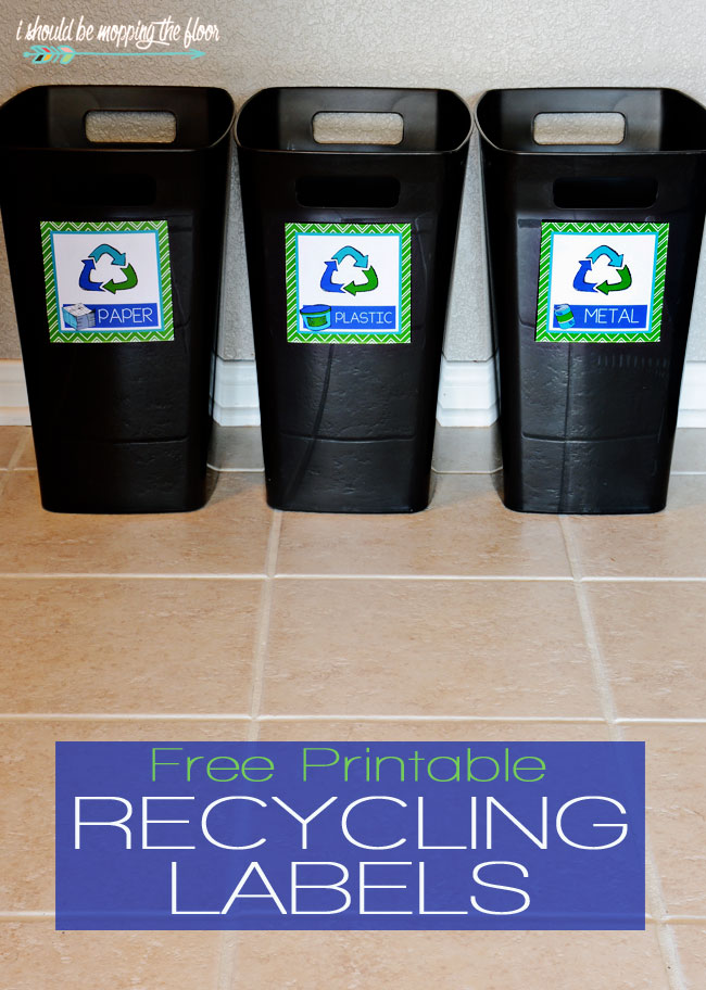 image regarding Recycle Labels Printable identified as No cost Printable Recycling Bin Labels i should really be mopping