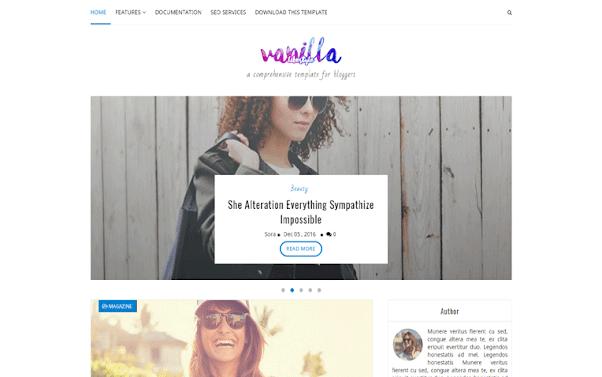 Vanilla Lifestyle Free Blogger Template