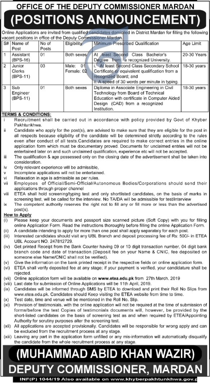 Mardan Jobs 2019 KPK Latest