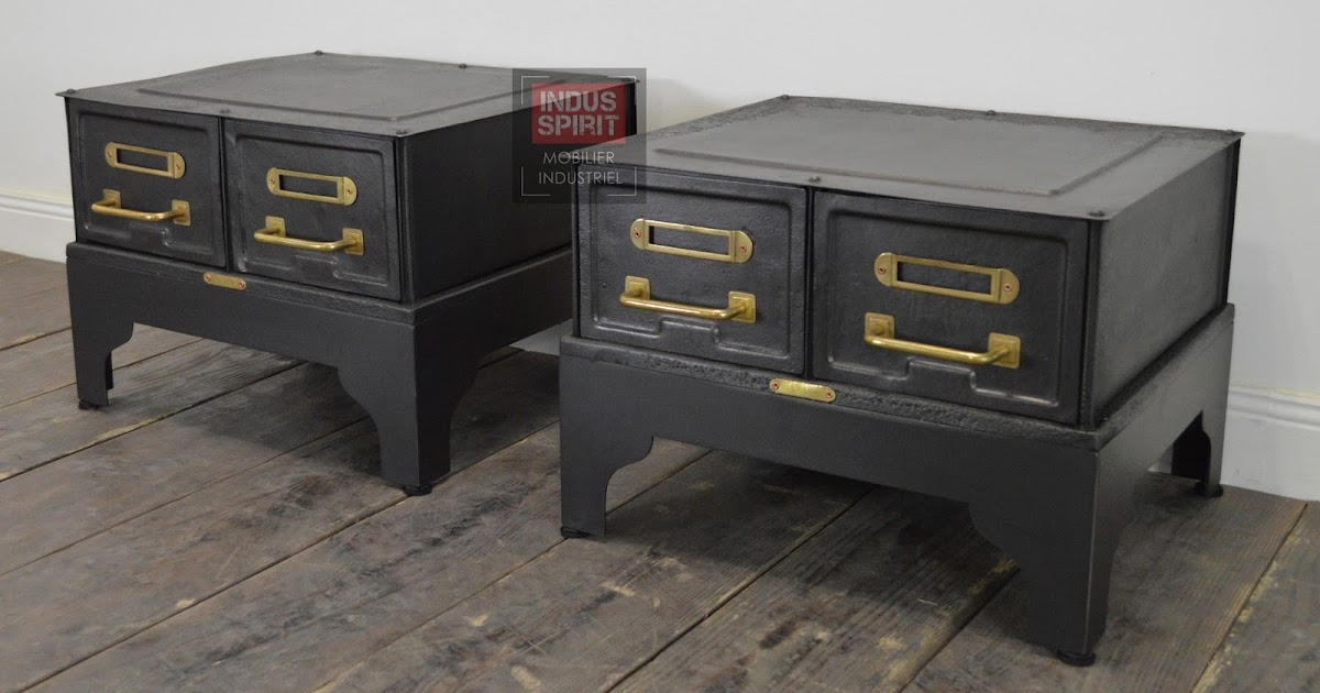 tables de chevet industriel. Black Bedroom Furniture Sets. Home Design Ideas