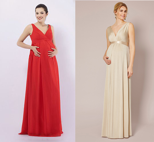 Maternity bridesmaid dresses with v neck and wide straps