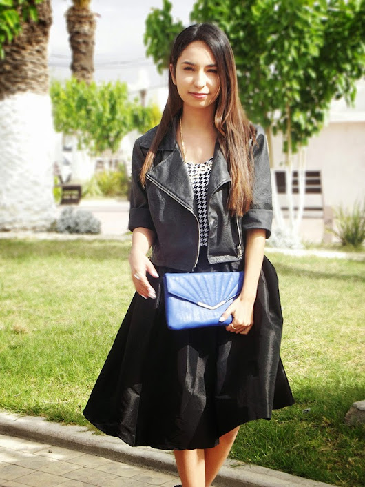 POUFY SKIRT AND HOUNDSTOOTH
