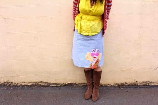 Brown boots kookai yello top handmade skirt