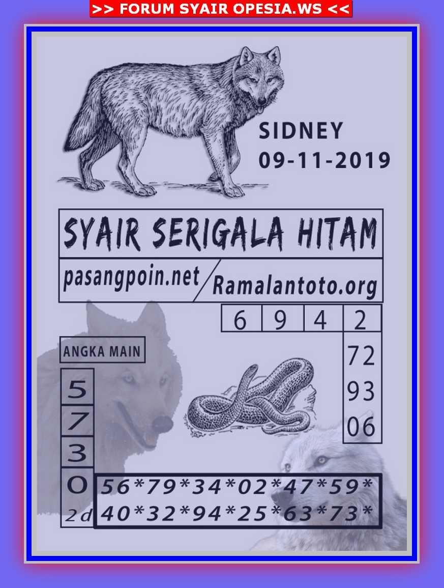 Kode syair Sydney Sabtu 9 November 2019 18