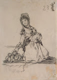 Maja with Puppies by Francisco Goya - Genre Drawings from Hermitage Museum