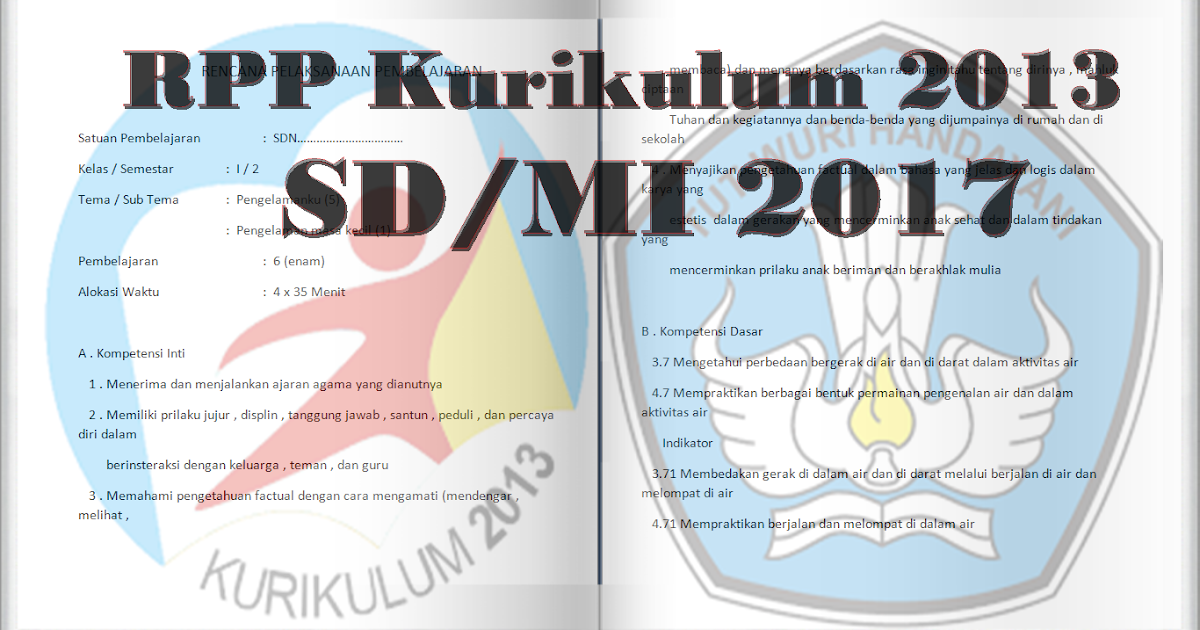 Kumpulan Contoh Rpp Kurikulum 2013 Sd Kelas 1 Dan Kelas 4