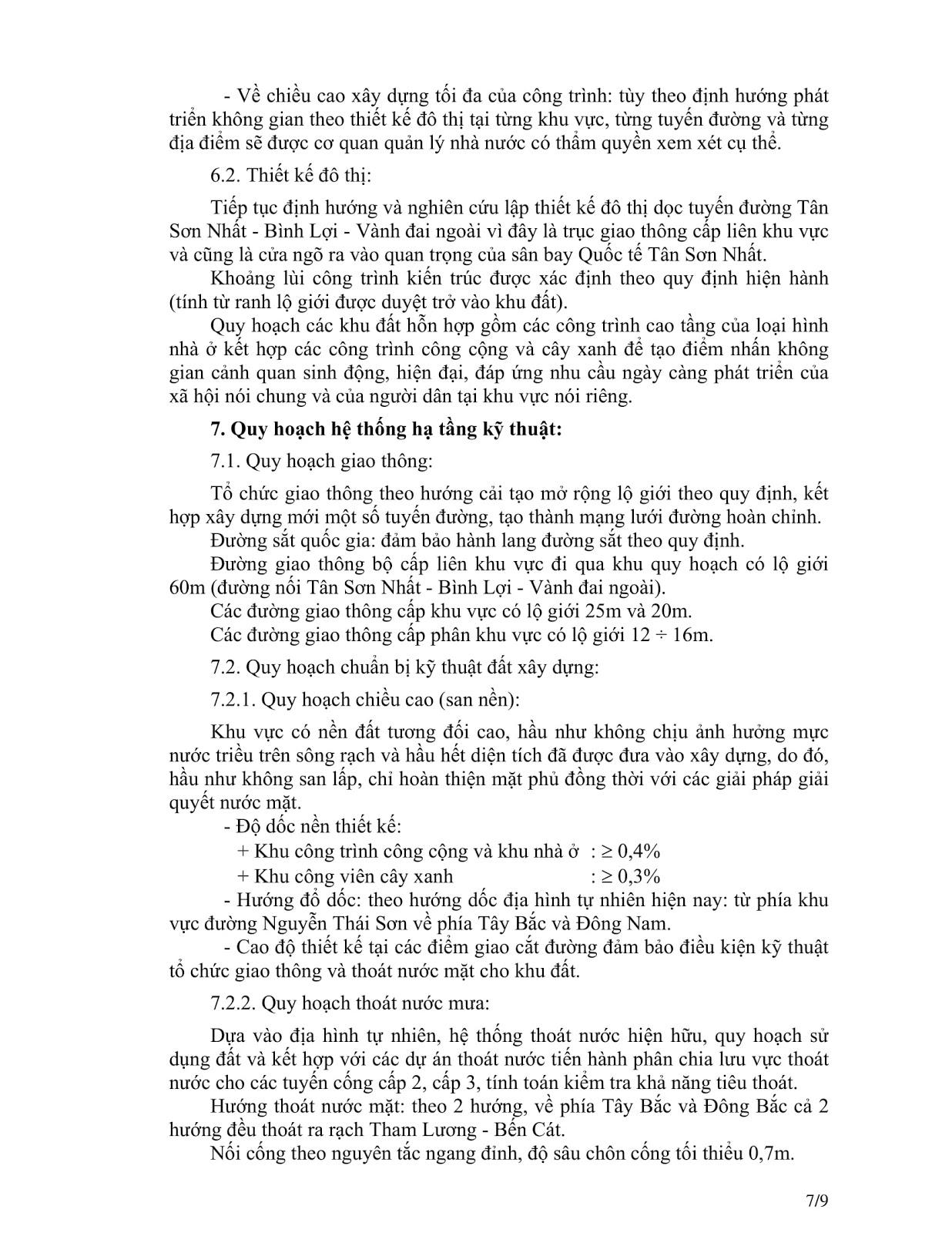 Quyết Định Số 2921/QĐ-UBND Quy Hoạch Khu Dân Cư Phường 4 Quận Gò Vấp Tờ 7