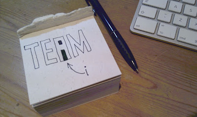 Drawing of the word TEAM where the inside of the letter A makes a lower case letter i